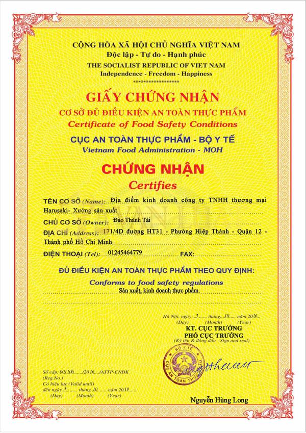 Mẫu giấy chứng nhận vệ sinh an toàn thực phẩm của Bộ Y Tế