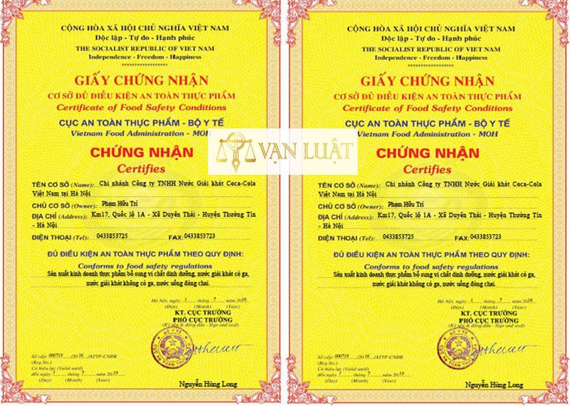 Thẩm quyền cấp giấy chứng nhận cơ sở đủ điều kiện An toàn thực Phẩm tại Hà Nội