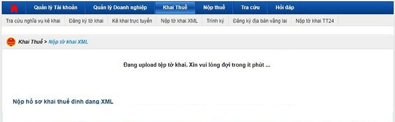 Lỗi đang upload tệp tờ khai